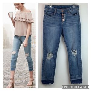 Juicy Couture button fly raw hem skinny crop jeans